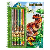 Альбом для розфарбовування кольоровими олівцями Dino World (4010070449278)