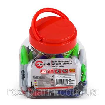 Міні-перманентні маркери кольорові, L= 93 мм, 80 шт/упак. (чорний, синій, зелений, червоний) INTERTO