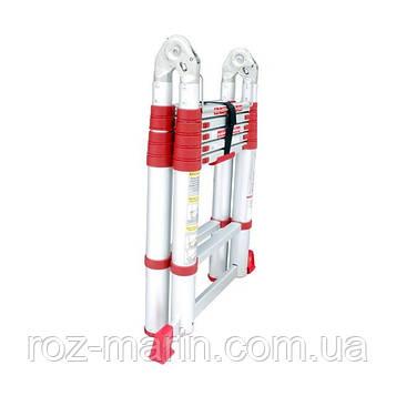 Драбина алюмінієва телескопічна універсальна розкладна 12 ступенів INTERTOOL LT-3039