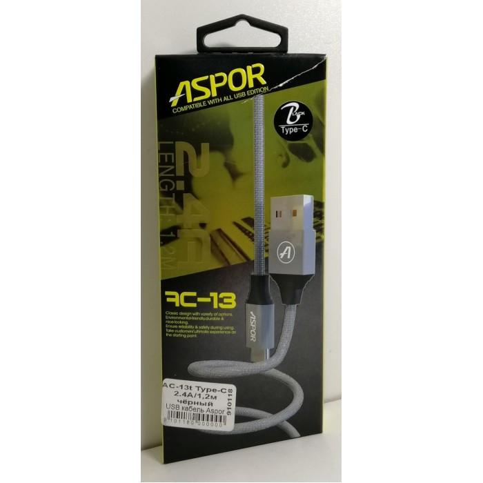 USB кабель Aspor AC-13t Type-C 2.4A/1.2м- черный (910118)