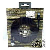 USB кабель Aspor A135 Micro Плоский Nylon 2.4A/1.2м- черный (910074)