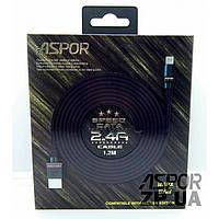 USB кабель Aspor A136 Lightning Плоский Nylon 2.4A/1.2м- черный (910076)