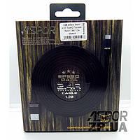 USB кабель Aspor A137 Type-C Плоский Nylon 2.4A/1.2м- черный (910078)