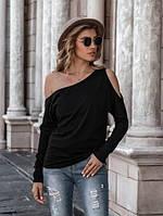 Женская кофточка черного цвета на одно плечо свободного кроя