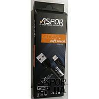 (DL) USB кабель Aspor A75 глянцевый Lightning (2A/1.2м)- черный (910158)