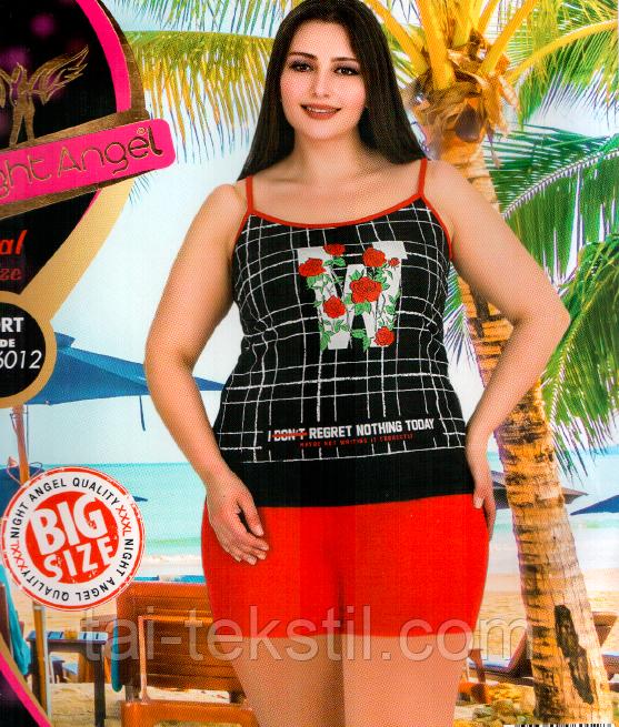 Домашний комплект майка и шорты большого размера с вискозой 6012