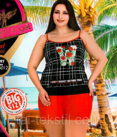 Домашний комплект майка и шорты большого размера с вискозой 6012, фото 2