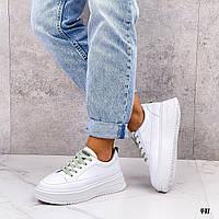 Белые кожаные кроссовки кеды, фото 1