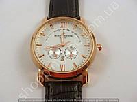 Мужские часы Vacheron Constantin 8611 золотистые с черным белый циферблат календарь копия, фото 1