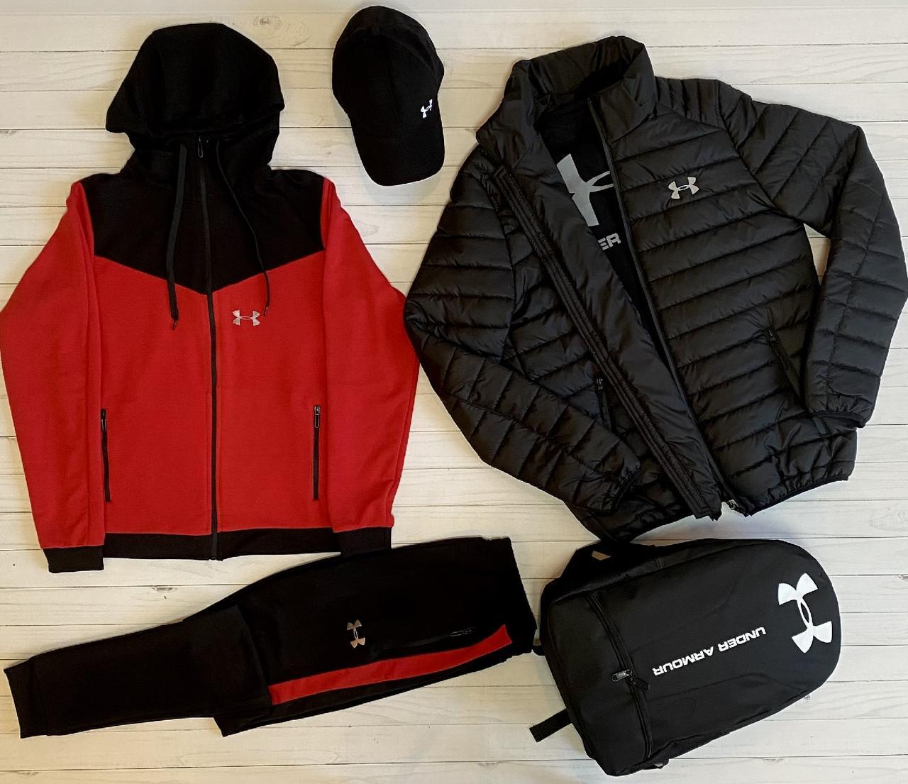 .Under Armour мужской красный спортивный костюм+Куртка весна.Under Armour Костюм Футболка Куртка Рюкзак Кепка