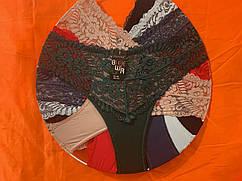 Жіночі трусики батал мікрофібра з мереживом Р. р 50-54 один колір в упаковці