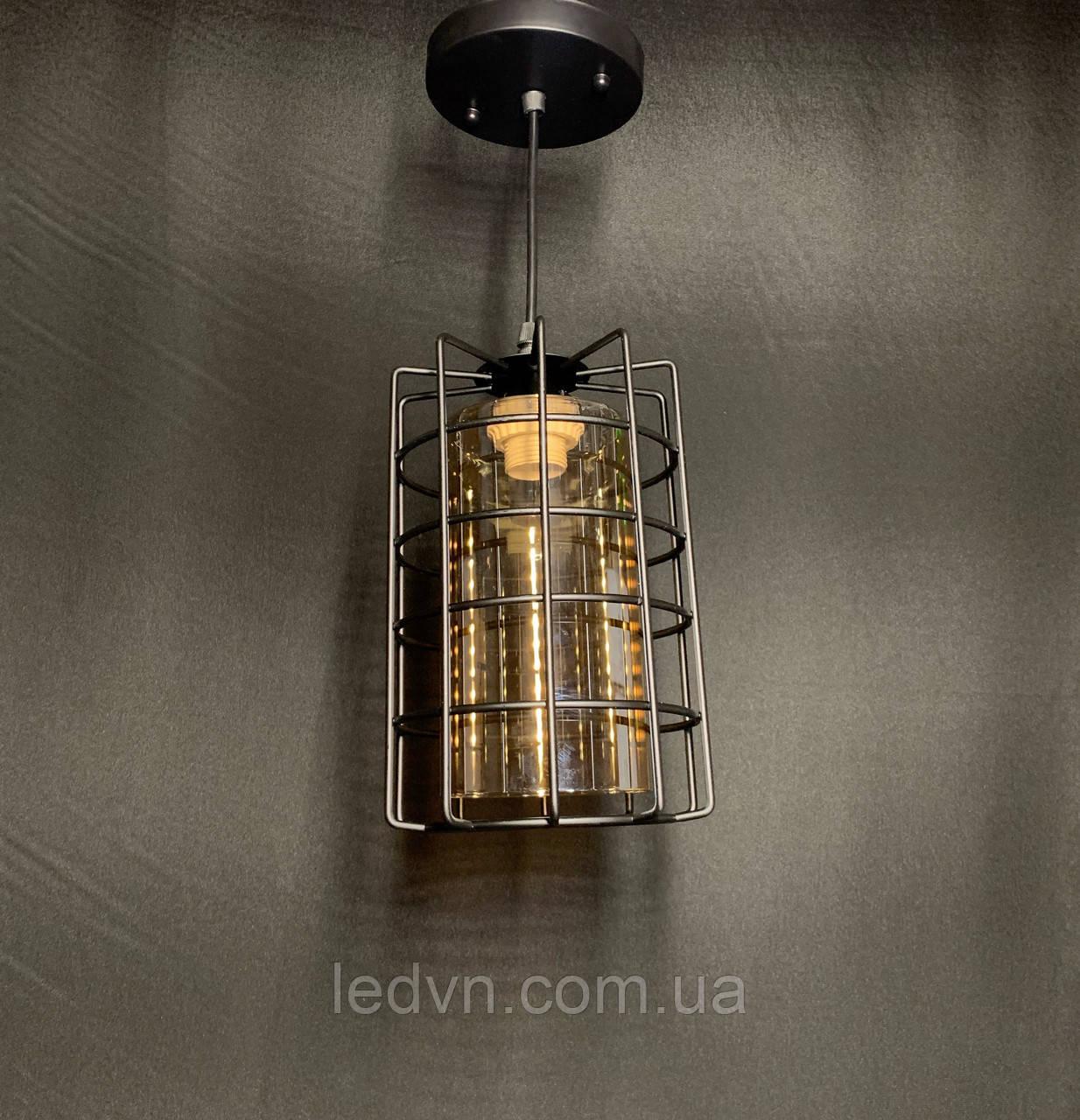 Підвісний світильник лофт з плафоном чорний