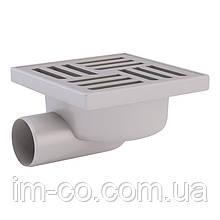 Трап ANI Plast TA5112 горизонтальний з нержавіючою решіткою 150х150