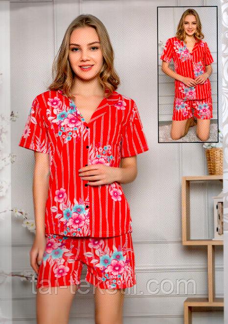 Піжама жіноча футболка повністю на гудзиках і шорти трикотаж