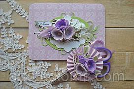 """Конверт для локона и ножницы. Набор на годик  """"Фиолет"""""""
