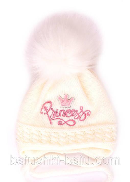 Тепла шапка для новонародженої дівчинки на зав'язках (фліс), р. 42-44