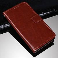 Чехол Fiji Leather для HTC Desire 12s книжка с визитницей темно-коричневый