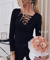 Женская стильная кофточка с длинным рукавом и шнуровкой на груди