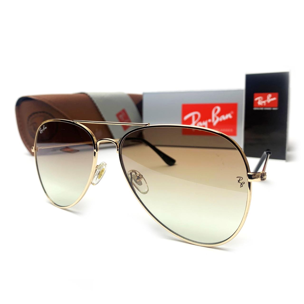 Сонцезахисні окуляри R-B Aviator Краплі 3026 Золото Коричневий Градієнт