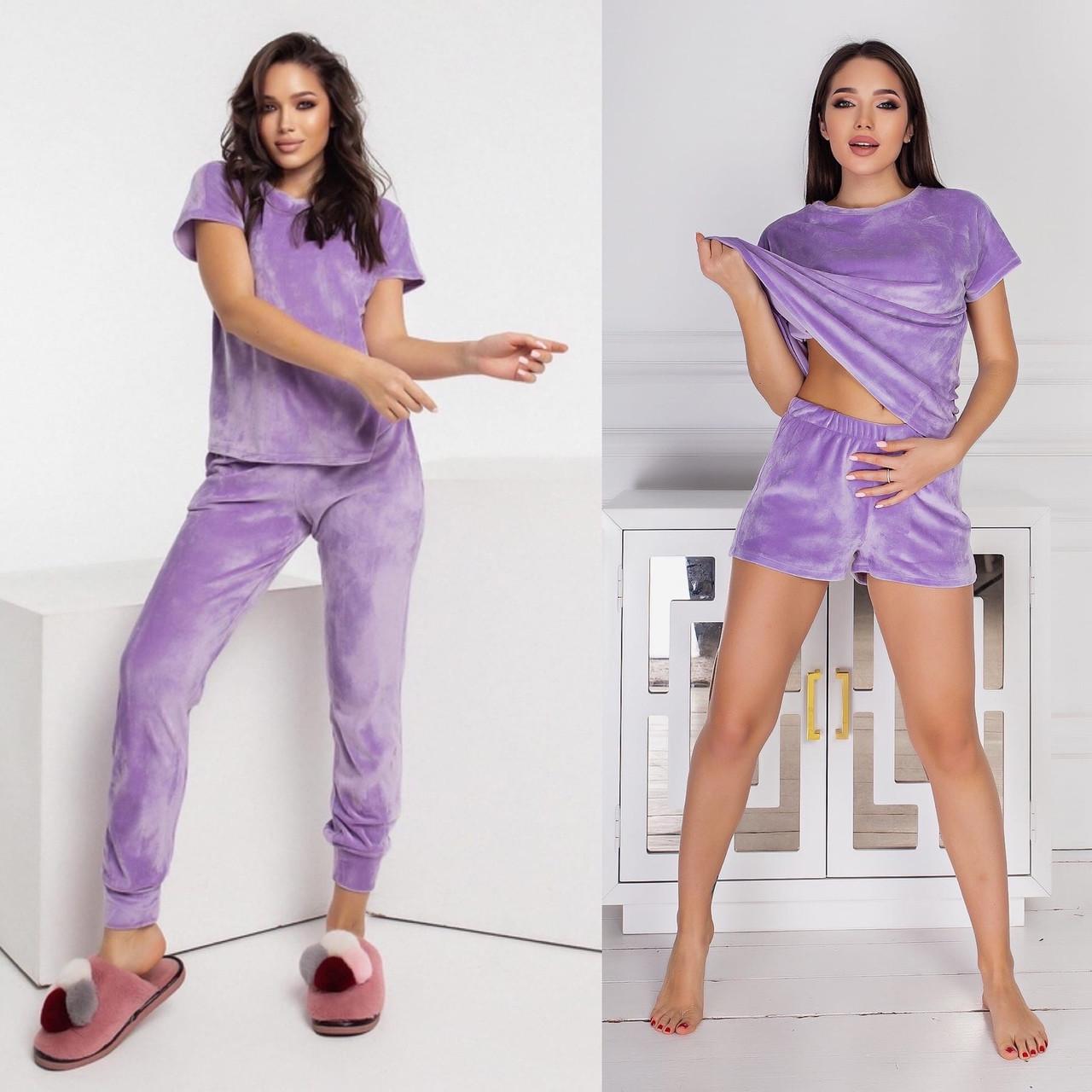 Велюровый женский домашний костюм-пижама тройка 15-771