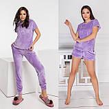 Велюровый женский домашний костюм-пижама тройка 15-771, фото 8
