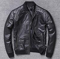 Мужская куртка Urban из натуральной кожи S черная. (Р1312)