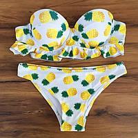 Стильный яркий купальник ананасы Push Up размер L