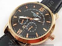 Мужские часы Vacheron Constantin 8611 черный циферблат золотистые с черным ремешком календарь копия, фото 1