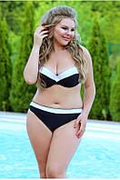 Раздельный купальник  черный с белым цвет Plus size с Push-up в наличии размер 2XL(46) Польша, фото 1