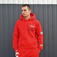 Чоловіча кофта з капюшоном Nasa Heron Preston худі червона з вишивкою, фото 1