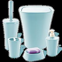 Набор для ванной комнаты Planet Papillon 5 предметов серо-голубой