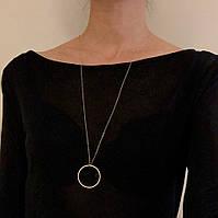 Модная цепочка подвеска на шею с кольцом - цвет белое золото