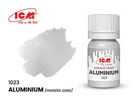 Краска водорастворимая алюминиевая металлик, 12 мл. ICM 1023