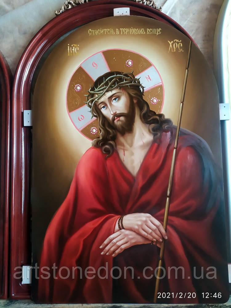 Храмова ікона спасителя в терновому вінці 80*60 см