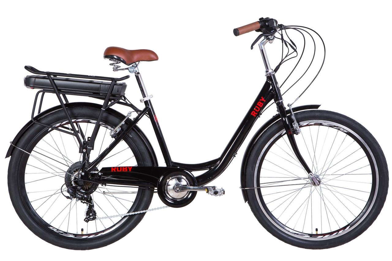 "Електровелосипед 26"" RUBY 350Вт 36В редуктор. 12.5 Ач с крепл. до багажн., дисплей, САП 2020 (чорний)"