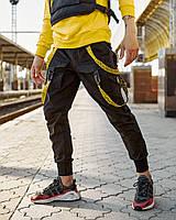 Брюки карго мужские Пушка Огонь Scarstrope черные, желтые стропы