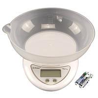 Весы кухонные электронные настольные A-PLUS до 5 кг для кухни с чашей