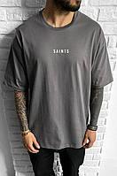 Мужская футболка оверсайз Black Island Saints antracit, фото 1