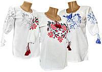 Женская вышитая рубашка из домотканого полотна с розами в белом цвете большие размеры