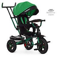 Велосипед M 4058HA-4 (1шт)три кол. гума (12/10),колясочн,поворот,USB/BT,світло,гальмівний, зелений
