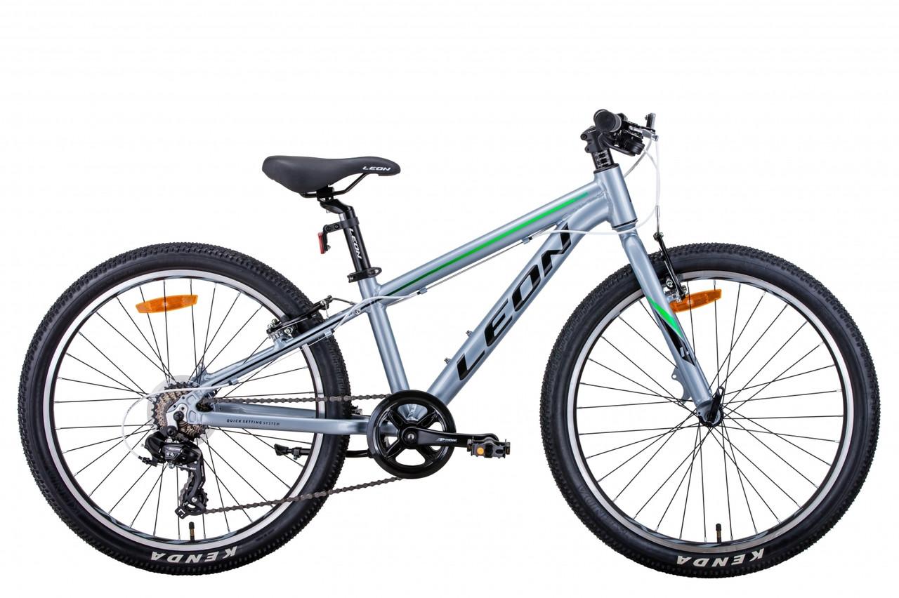 """Велосипед 24"""" Leon JUNIOR 2021 (сріблясто-чорний з зеленим)"""