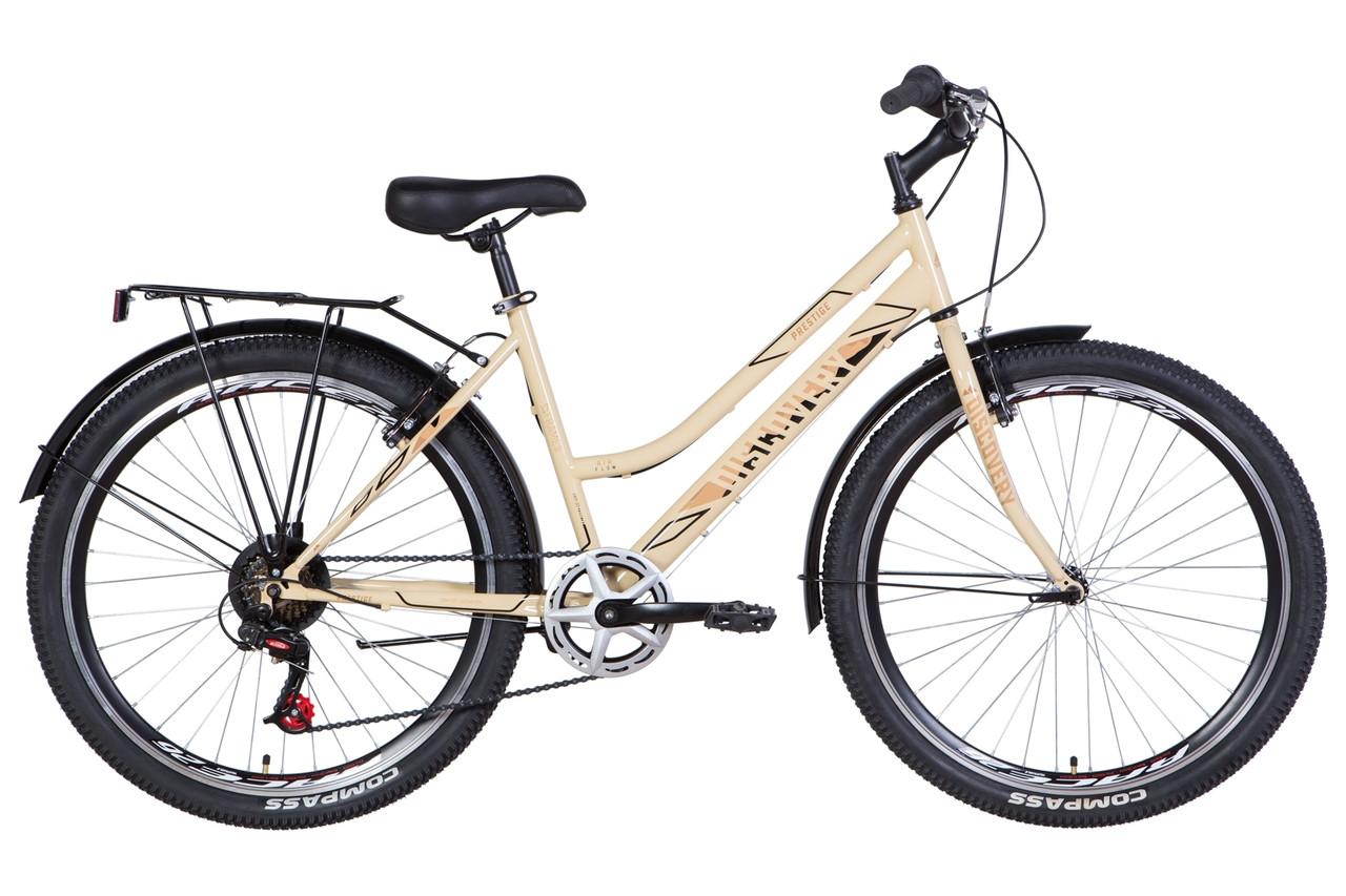 """Велосипед 26"""" Discovery PRESTIGE WOMAN 2021 (черно-белый с серым)"""