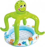 Детский бассейн надувной с навесом Intex 57115 Осьминожка Green