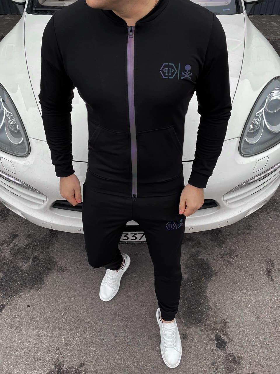 Чоловічий чорний спортивний костюм Philipp Plein