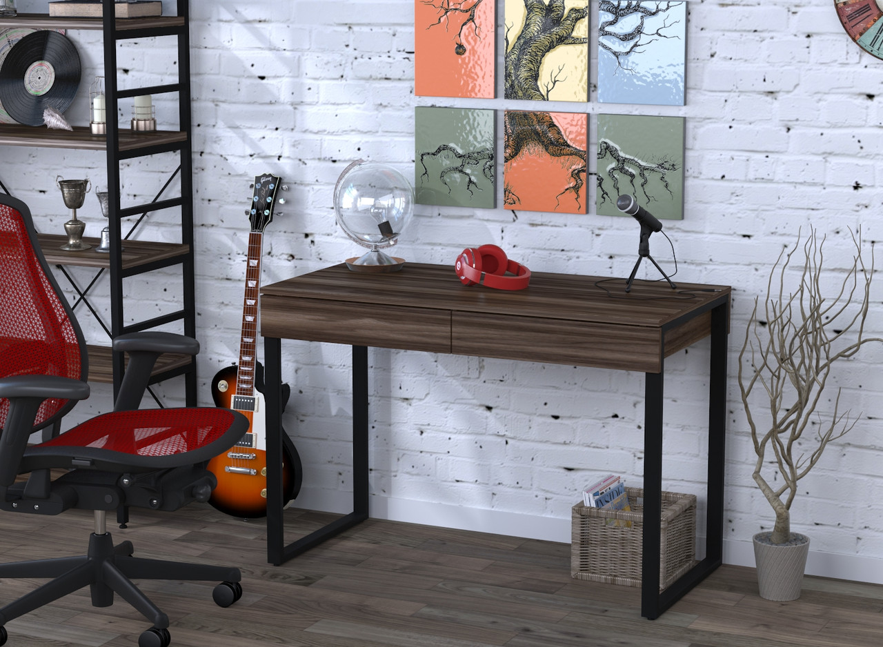 Письмовий стіл Loft Design L-11 Горіх Модена каркас чорний