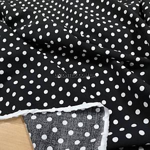 Ткань штапель принт белый горох на черном 7мм