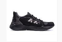 Мужские кожаные кроссовки New Balance black черные, фото 1