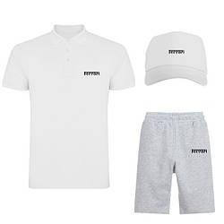 Мужской костюм тройка кепка поло и шорты Феррари (Ferrari), летний мужской костюм, копия