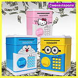 """Дитячий сейф скарбничка з кодом паролем для грошей Рожева кіті"""" hello kitty дитяча музична скарбничка, фото 7"""