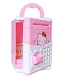 """Дитячий сейф скарбничка з кодом паролем для грошей Рожева кіті"""" hello kitty дитяча музична скарбничка, фото 3"""